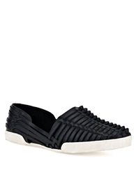 Elliott Lucca Rani Woven Leather Flats Black