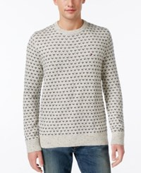 Tommy Hilfiger Men's Geometric Crew Neck Sweater Seedpearl