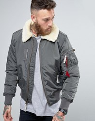 Alpha Industries Bomber Jacket With Sheep Fur Collar In Slim Fit Grey Gy1 Grey 1