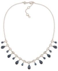 Carolee Silver Tone Blue And Clear Dangle Crystal Collar Necklace