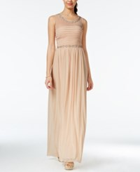 City Triangles City Studios Juniors' Embellished Ruched Chiffon Gown