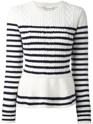 Red Valentino Striped Peplum Sweater Nude And Neutrals