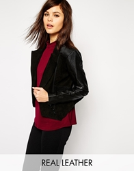 Y.A.S Splenda Leather Biker Jacket With Ribbed Panels Black