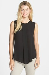 Women's Vince Camuto Center Pleat Sleeveless Blouse Rich Black