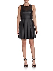 Ali Ro Faux Leather Illusion Fit And Flare Dress Black