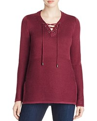 Design History Lace Up Sweater Black Cherry