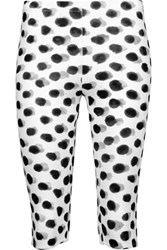 Norma Kamali Cropped Printed Stretch Jersey Leggings Off White