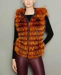 The Fur Vault Fox Hooded Vest Orange