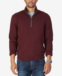 Nautica Men's Big And Tall Quarter Zip Sweatshirt Shipwreck Burgundy