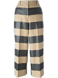 Alexander Wang Striped Cropped Trousers Nude And Neutrals