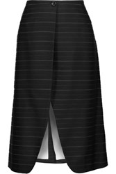 Thom Browne Wrap Effect Striped Wool Cotton And Silk Blend Jacquard Skirt Black