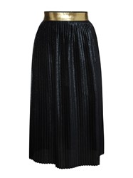 Markus Lupfer Navy Pleated Glitter Lurex Long Brana Skirt Black
