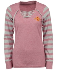 Antigua Women's Iowa State Cyclones Lace Up Sweatshirt Heather Maroon Gray