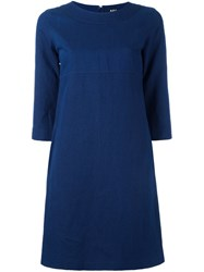 A.P.C. Three Quarter Sleeve Shift Dress Blue