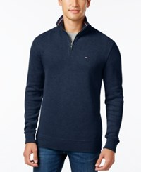 Tommy Hilfiger Men's Big And Tall Ribbed Quarter Zip Sweater Mg Blue