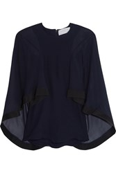 Cape Effect Cady Trimmed Silk Chiffon Blouse Navy