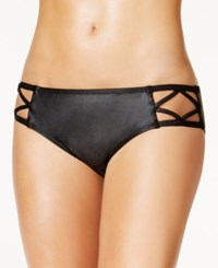 Kenneth Cole After Midnight Metallic Strappy Hipster Bikini Bottoms Women's Swimsuit Black