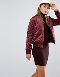 New Look Quilted Bomber Jacket Dark Burgundy Red