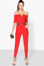 Boohoo Mila Chain Trim Off The Shoulder Jumpsuit Red