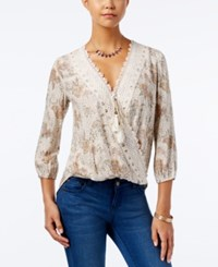 American Rag High Low Surplice Top Only At Macy's Oatmeal Floral