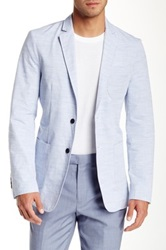 Report Collection Tic Weave Two Button Notch Collar Blazer Blue