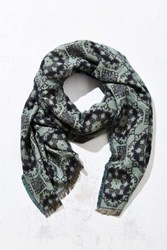 Urban Outfitters Brushed Intarsia Woven Scarf Blue