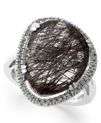 Macy's Sterling Silver Ring Black Rutilated Quartz 11 1 5 Ct. T.W. And Diamond 1 4 Ct. T.W. Ring