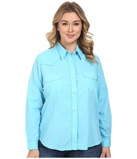 Roper Plus Size 0487 Solid Broadcloth Turquoise Blue Women's Clothing