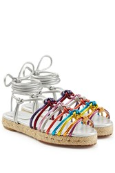 Chloe Metallic Leather Braided Sandals Multicolor
