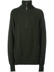 Etudes Studio Zipped Roll Neck Jumper Green