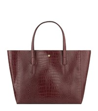 Reiss Louie Crocodile Embossed Tote Bag Female Burgundy