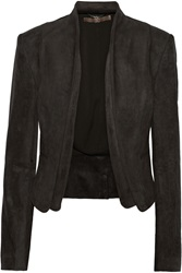 Halston Layered Faux Suede Blazer Gray