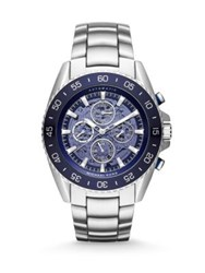 Michael Kors Jetmaster Stainless Steel Automatic Chronograph Bracelet Watch Silver Blue