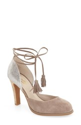 Seychelles Women's 'Aware' Wraparound Tie Pump Taupe Silver Metallic Leather