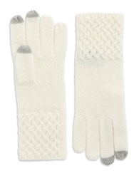 Lord And Taylor Knit Cuff Cashmere Gloves Ivory