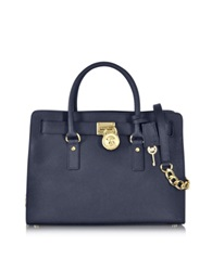 Michael Kors Hamilton Large Saffiano Leather Satchel Navy Blue