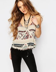 Glamorous Printed Cami Top With Coin Print Trim Multi