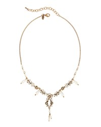 Emily And Ashley Greenbeads By Emily And Ashley Golden Floral Pearly And Crystal Y Drop Necklace Women's