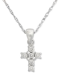 Macy's Cross Diamond Pendant Necklace In 14K White Or Yellow Gold 1 8 Ct. T.W. White Gold