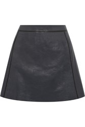 Vince A Line Leather Mini Skirt Blue