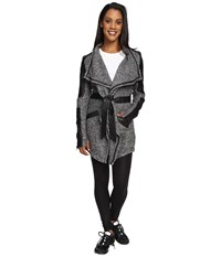 Blanc Noir Drape Sweater Coat Charcoal Heather Black Women's Coat Gray