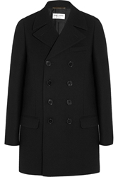 Saint Laurent Double Breasted Wool Crepe Coat