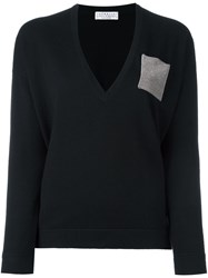 Brunello Cucinelli Beaded Panel Jumper Black