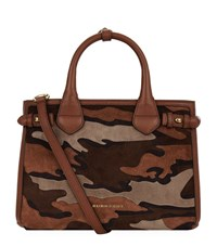 Burberry Shoes And Accessories Small Camouflage Suede Banner Bag Female Brown