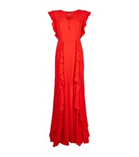 Escada Gnissin Ruffled Gown Female Coral