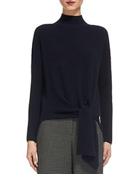 Whistles Tie Waist Ribbed Sweater Navy
