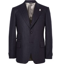 Wooster Lardini Navy Peak Lapel Chalk Striped Wool Blazer Blue