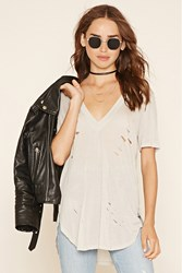 Forever 21 Distressed Longline Tee
