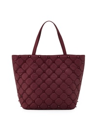 Deux Lux Empress Stud Quilted Faux Leather Tote Bag Berry