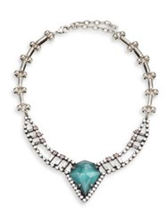 Dannijo Wendy Turquoise And Crystal Pendant Necklace Silver Turquoise